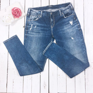 Silver Jeans Distressed Girlfriend Skinny 32 x 29